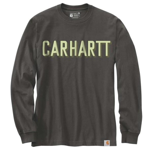 Carhartt RELAXED FIT HEAVYWEIGHT LONG-SLEEVE BLOCK LOGO GRAPHIC T-SHIRT