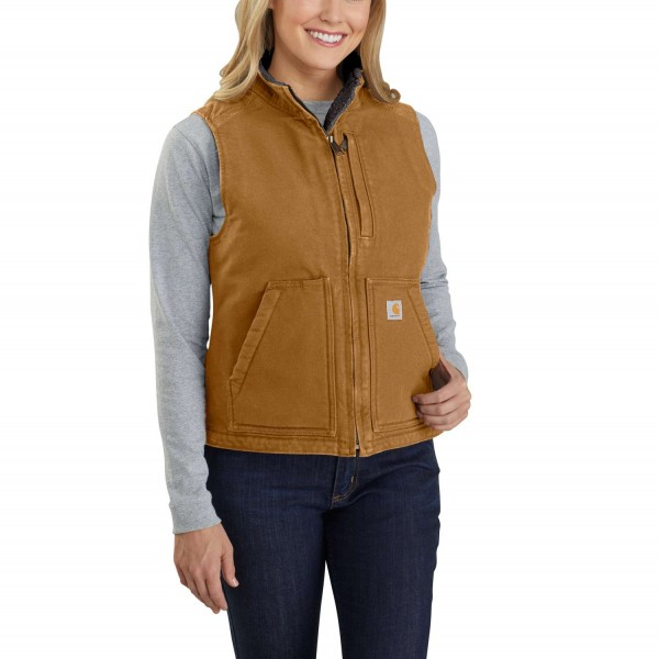 Carhartt Damen RELAXED FIT WASHED DUCK SHERPA LINED MOCK NECK VEST Woman